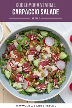 nl - This richly filled carpaccio salad is tasty, nutritious and healthy. This low-carbohydrate salad is - Healthy Recepies, Healthy Low Carb Recipes, Healthy Salads, Carpaccio Salat, Healthy Diners, Lunch Recipes, Cooking Recipes, Good Food, Yummy Food
