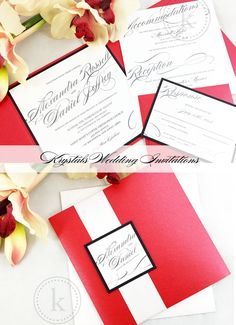 The Alexandra Suite - Modern Pocketfold Wedding Invitations with Satin Ribbon Closure - Krystals Wedding Invitations #weddings #weddinginvitation
