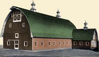 From about 1900 to 1940, many large dairy barns were built in northern USA. These commonly have gambrel, or hip roofs to maximize the size of the hayloft above the dairy roof, and have become associated in the popular image of a dairy farm. Not as popular as the gambrel, or hip roof the Gothic roof dairy barn is still a common site in the rural area's in the dairy states