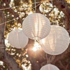 Barato Cor branca estilo lanternas de papel de 12 polegada (30 cm) 1 pcs…