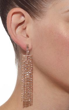 Round Diamonds Long Chandelier Earrings by Suzanne