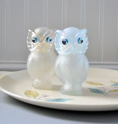 Vintage Blue Owl Avon Powder Bottles with Jeweled Eyes. $10.00, via Etsy.