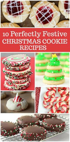 10 Perfectly Festive Christmas Cookie Recipes: these are perfect for holiday cookie platters or cookie exchanges. Included are things like Candy Cane Cookies, Christmas Tree Cookie Stacks, Chocolate Mint Wafers, Red Velvet Gooey Butter Cookies and more!