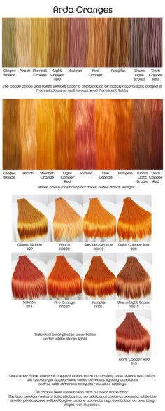 "Arda oranges, wig fiber color pallette. - According to this, in a ""ginger blonde"""