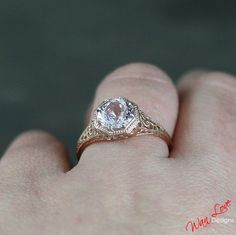 Light Pink Sapphire Filigree Milgrain Solitaire by WanLoveDesigns