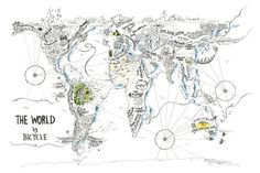 The World by Bicycle, Alex Hotchin Map Drawings How To Draw Hands, The Incredibles, World, Drawings, Romania, Bicycles, Maps, Addiction, Community