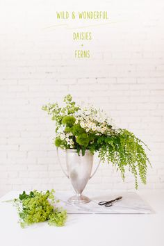 wild and wonderful daisies + maidenhair ferns, a bright and happy floral arrangement. full details on jojotastic.com