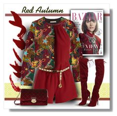 """Red Romper and Boots for Fall"" by fernshadowstudio-com ❤ liked on Polyvore featuring Alice + Olivia, Joie, Chanel and Posh Girl"