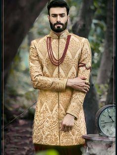 Indian Groom Wear, Indian Wear, Wedding Dress Men, Wedding Men, Maroon Color, Beige Color, Mens Ethnic Wear, Mens Sherwani, Asian Clothes