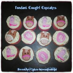 COWGIRLCUPCAKES  For more information and orders email:  sweetartbfn@gmail.com, cal: 0712127786, Follow us on Facebook:  www.facebook.com/sweetart.bloemfontein Horse Cupcake, Sheriff Callie, Sweetarts, Edible Cake, Cupcake Toppers, Preserves, Fondant, Icing, Period