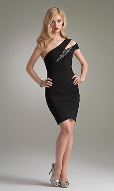 Sexy One Shoulder Black Dress