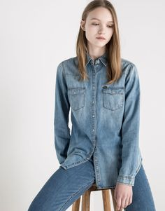 LONG SLEEVED DENIM SHIRT - BLOUSES & SHIRTS - WOMAN - PULL&BEAR United Kingdom