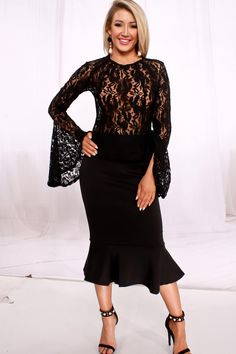 27c97a31 Sexy & elegant are the words for this Sheer Laced Top Longsleeve Dress. Let  that