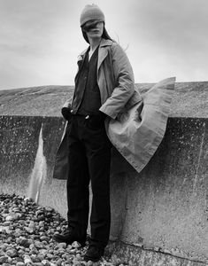 Autumn Winter 2018 Campaign Photography by Theo Sion. Photographed in Saltdean, East Sussex. Aw 2018, Margaret Howell, Fall Winter, Autumn, Woman Standing, Spotlights, East Sussex, Fashion Photography, Silhouette