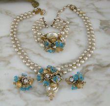 AMAZING Miriam Haskell PARURE Signed Necklace, Bracelet & Earrings