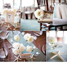 beach wedding table setting - create a colorful table runner and then sparsely add star fish, shells, a few tea lights and flowers. done