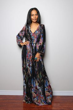 Boho Dress - Long Sleeved Maxi Dress : Funky Elegant Collection no 22