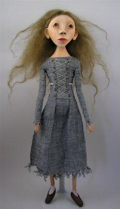Contemporary Folk Art Doll cloth and clay