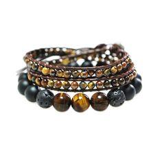 Bracelets pierres naturelles Oeil de tigre & Lava