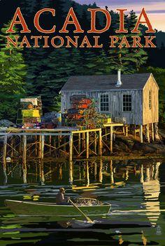 Acadia National Park, Maine - Lobster Shack - Lantern Press Artwork (Art Print Available), Multi National Park Posters, National Parks, Lobster Shack, Poster Art, Pub, Acadia National Park, Prince Edward Island, Vintage Travel Posters, Illustrations