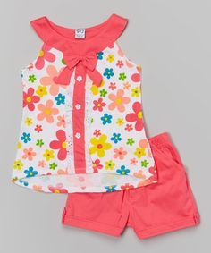Take a look at this Coral Bow Yoke Tank & Shorts - Toddler & Girls on zulily tod. - Take a look at this Coral Bow Yoke Tank & Shorts - Toddler & Girls on zulily today! Little Girl Fashion, Toddler Fashion, Fashion Kids, Adorable Petite Fille, Baby Dress Design, Frocks For Girls, Cute Little Girls, Little Girl Dresses, Baby Wearing
