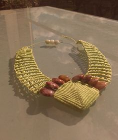 Lime Green Agate gemstone micro macrame costume necklace