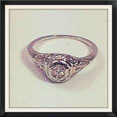 Antique Art Deco Diamond Engagement Ring by RighteousRecycling, $675.00