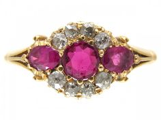 Edwardian Three Stone Ruby & Diamond Ring