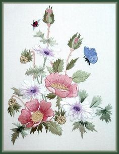 Marvelous Crewel Embroidery Long Short Soft Shading In Colors Ideas. Enchanting Crewel Embroidery Long Short Soft Shading In Colors Ideas. Embroidery Flowers Pattern, Hand Embroidery Stitches, Crewel Embroidery, Embroidery Techniques, Ribbon Embroidery, Free Machine Embroidery Designs, Cross Stitch Embroidery, Thread Painting, Fabric Painting