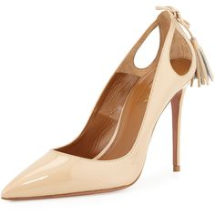 Aquazzura Forever Marilyn Patent Leather Cutout Pump (10.492.860 IDR) ❤ liked on Polyvore featuring shoes, pumps, heels, nude, patent leather pointed toe pumps, high heel court shoes, nude high heel shoes, pointy toe pumps and high heel shoes