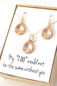 •••Please review entire description before checking out•••  THIS EARRING AND NECKLACE SET IS AVAILABLE IN TWO STYLES Style 1: With a personalized