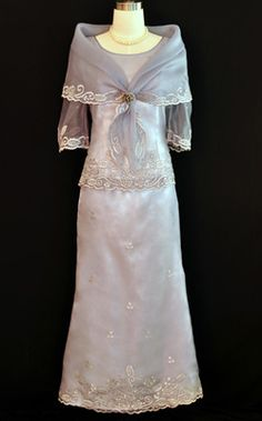 Filipiniana Gown This beautiful baro at saya will help you turn heads at any formal party! The feminine design, elegant embroidery, and a floor length skirt will keep you feeling elegant all night long! Barong Tagalog For Women, Filipiniana Dress, Philippines Fashion, Philippine Women, Formal Dresses For Men, Line Shopping, Elegant, Shawl, Party