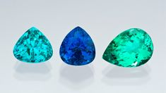 Paraiba Tourmaline  The Paraíba deposit revealed a range of new tourmaline colors unrivaled for their strongly saturated hues and light to medium tones. Representing the color range are a 2.59-carat turquoise-blue triangle cut, a 3.28-carat electric-blue pear shape, and a 3.68-carat green pear shape.