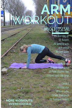 De printbare versie van de arm workout. Voor de video kijk je op www.noexcusesnl.nl