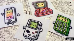 How To Draw Kawaii Electronic Devices - Game Boy, Iphone, nintendo 3ds a...