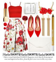 """pleated skirt"" by noraaaaaaaaa ❤ liked on Polyvore featuring Dolce&Gabbana, WearAll, Style & Co., Gianvito Rossi, Chloé, Oscar de la Renta, Urban Decay, Herbivore, Yves Saint Laurent and pleatedskirts"