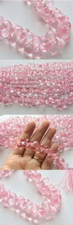 Rock Crystal Colorless 12317: 8 Strand Micro Faceted Crystal Quartz, Coated Crystal Tear Drop Briolette Beads BUY IT NOW ONLY: $49.69