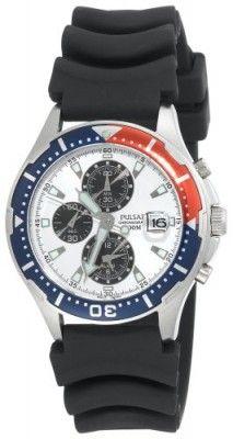 Relógio Pulsar Men's PF3683 Alarm Chronograph Black Urethan Strap Watch #Relogio #Pulsar