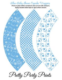 Blue Baby Shower Cupcake Wrappers Printable by PrettyPartyPrints, $1.75