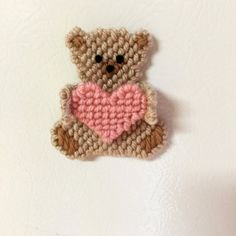 Teddybear with heart magnet in plastic by Cathygiftsandthings
