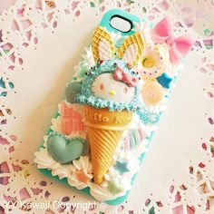 Custom Decoden Kitty Ice Cream Cone And Sweets Phone Case for iPhone 4/4s 5, Samsung Galaxy S2, S3, S4, IPod Touch