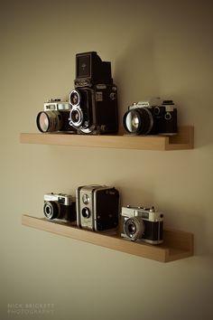 vintage camera shelf - Google Search