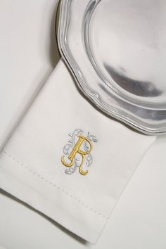 Monogrammed Embroidered Ornate Cloth by WhiteTulipEmbroidery