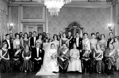 forhelvede:  Wedding of Count Ingolf of Rosenberg, son of Prince Knud and Princess Caroline-Mathilde of Denmark, and Inge Terney, January 13, 1968; center, the bride and groom, the groom's parents, and the groom's aunt and uncle Queen Ingrid and King Frederik; back row-behind groom, his sister Princess Elisabeth and his brother then Prince Christian, Prince Henrik, Crown Princess Margrethe and Princess Benedikte.    Engulf and later Christian lost their princely titles by marrying commoners.
