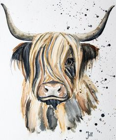 Highland Cow Painting, Highland Cow Art, Watercolor Animals, Watercolor Paintings, Watercolor Illustration, Highland Cow Tattoo, Hirsch Illustration, Cow Pictures, Diy Canvas Art