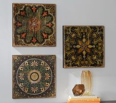 Sahara Printed Wood Tiles Wall Art Set | Pottery Barn.  I love these,  they are so beautiful.