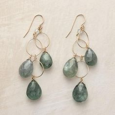 three tear drops, love the gray green colors, linked with large wire hoops