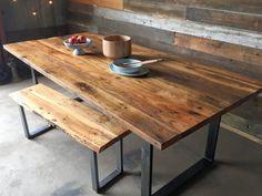 Industrial Modern Reclaimed Wood Dining Table / U-Shaped Metal