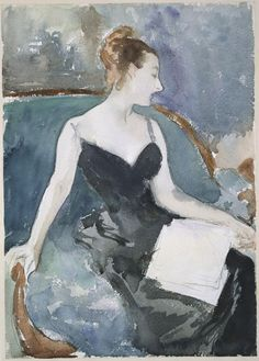 Madame Gautreau (Madame X), c 1883 - watercolor and graphite on white wove paper, John Singer Sargent