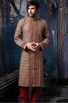 Beige jacquard fabric embroidered sherwani with sequins, beads, zari, zardosi and stones work. Mens Sherwani, Jacquard Fabric, Stone Work, Churidar, Embroidered Silk, Straight Cut, High Neck Dress, Sequins, Beige